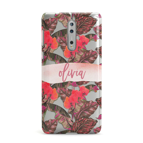 Personalised Tropical Orchid Floral Nokia Case