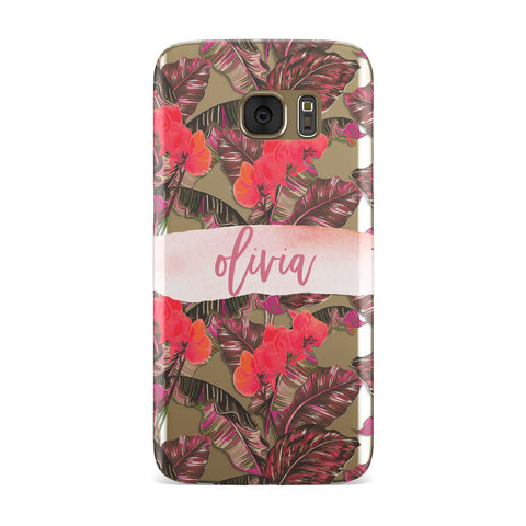 Personalised Tropical Orchid Floral Samsung Galaxy Case