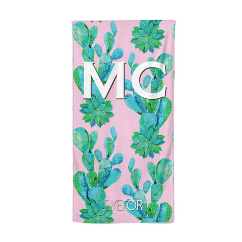 Personalised Tropical Pink Cactus Beach Towel