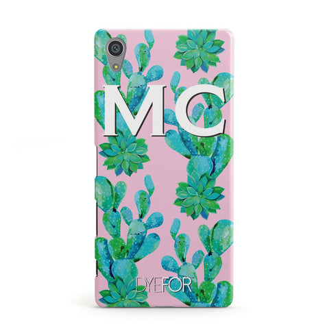 Personalised Tropical Pink Cactus Sony Case