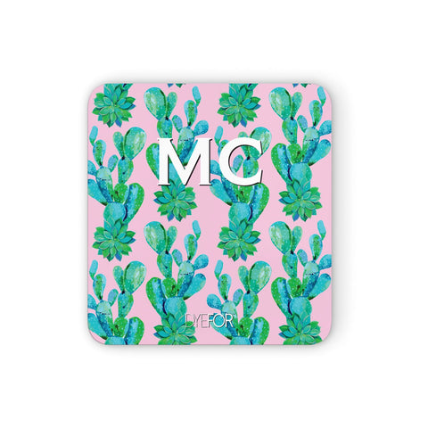 Personalised Tropical Pink Cactus Coasters set of 4