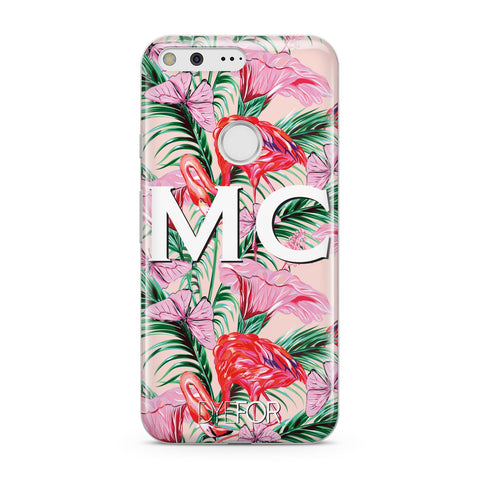 Personalised Tropical Pink Flamingo Google Case