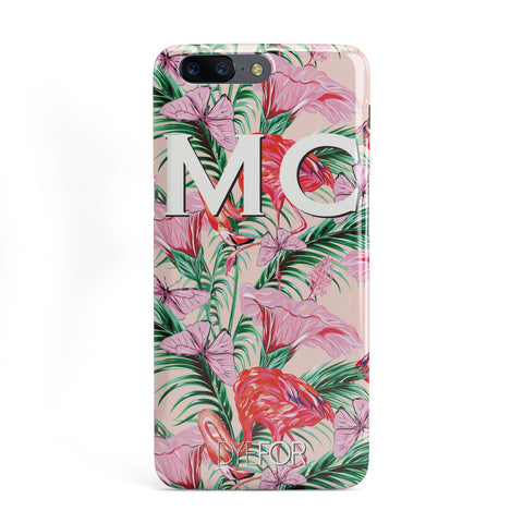 Personalised Tropical Pink Flamingo OnePlus Case