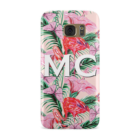 Personalised Tropical Pink Flamingo Samsung Galaxy Case