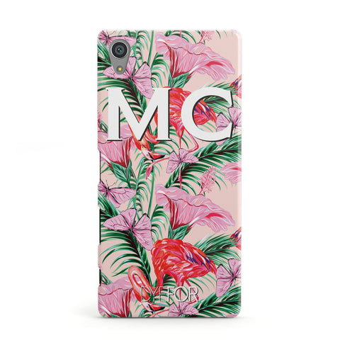 Personalised Tropical Pink Flamingo Sony Case