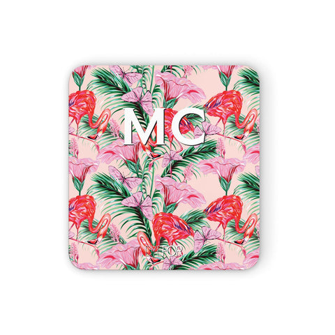 Personalised Tropical Pink Flamingo Coasters set of 4