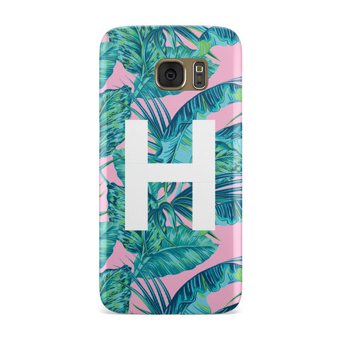 Personalised Tropical Pink and Green Samsung Galaxy Case