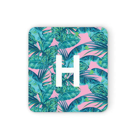 Personalised Tropical Pink and Green Coasters set of 4