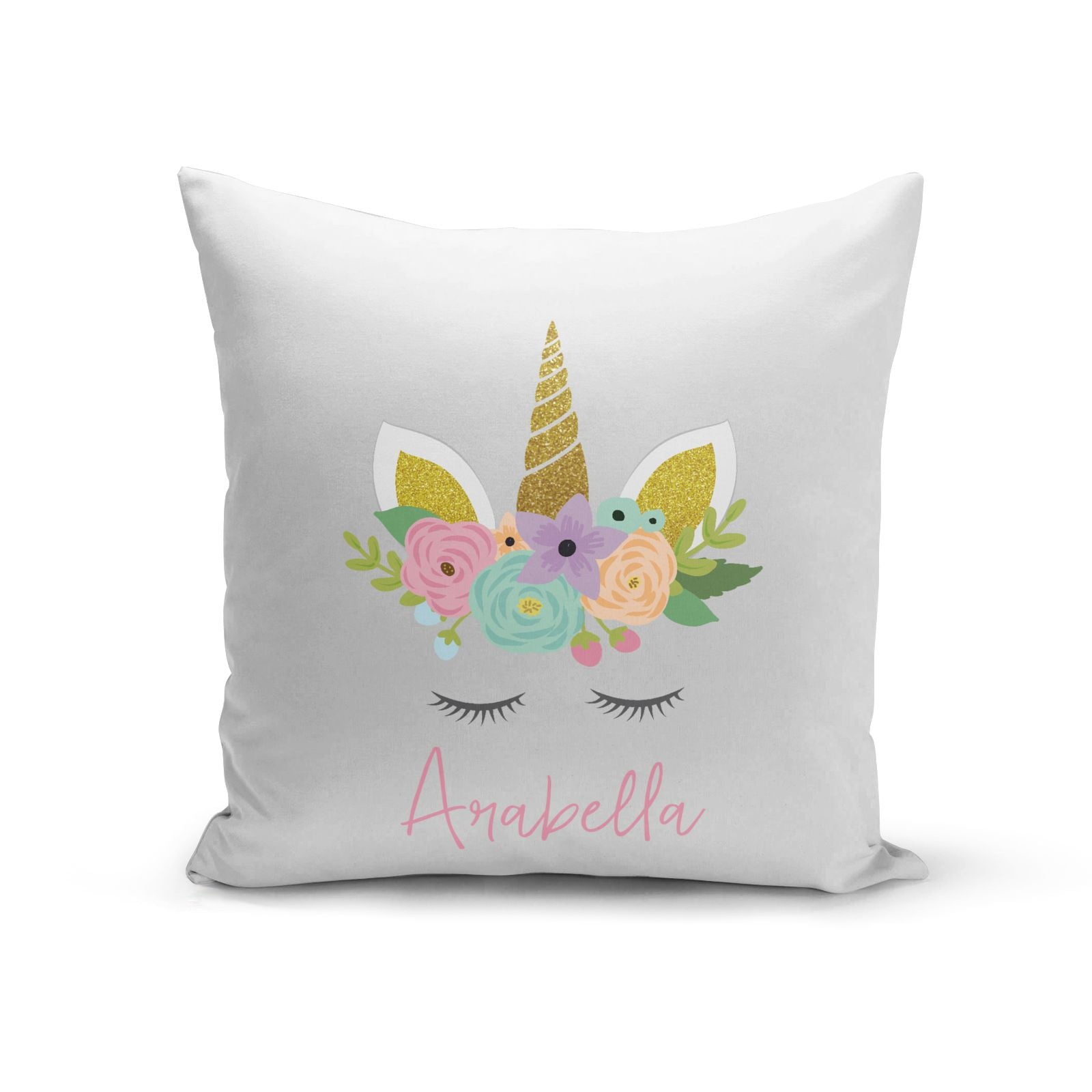 Personalised Unicorn Face Cotton Cushion