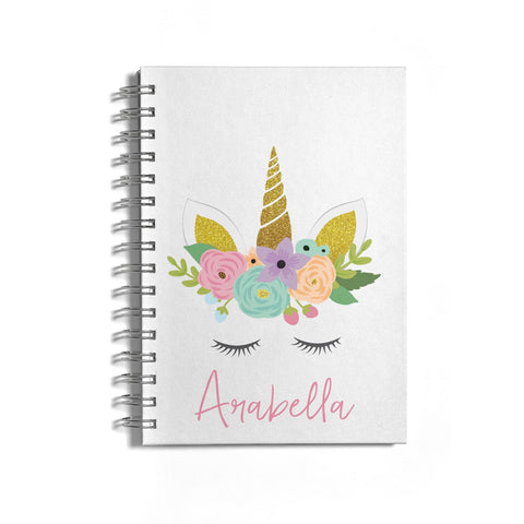 Personalised Unicorn Face Notebook