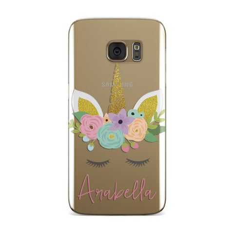 Personalised Unicorn Face Samsung Galaxy Case