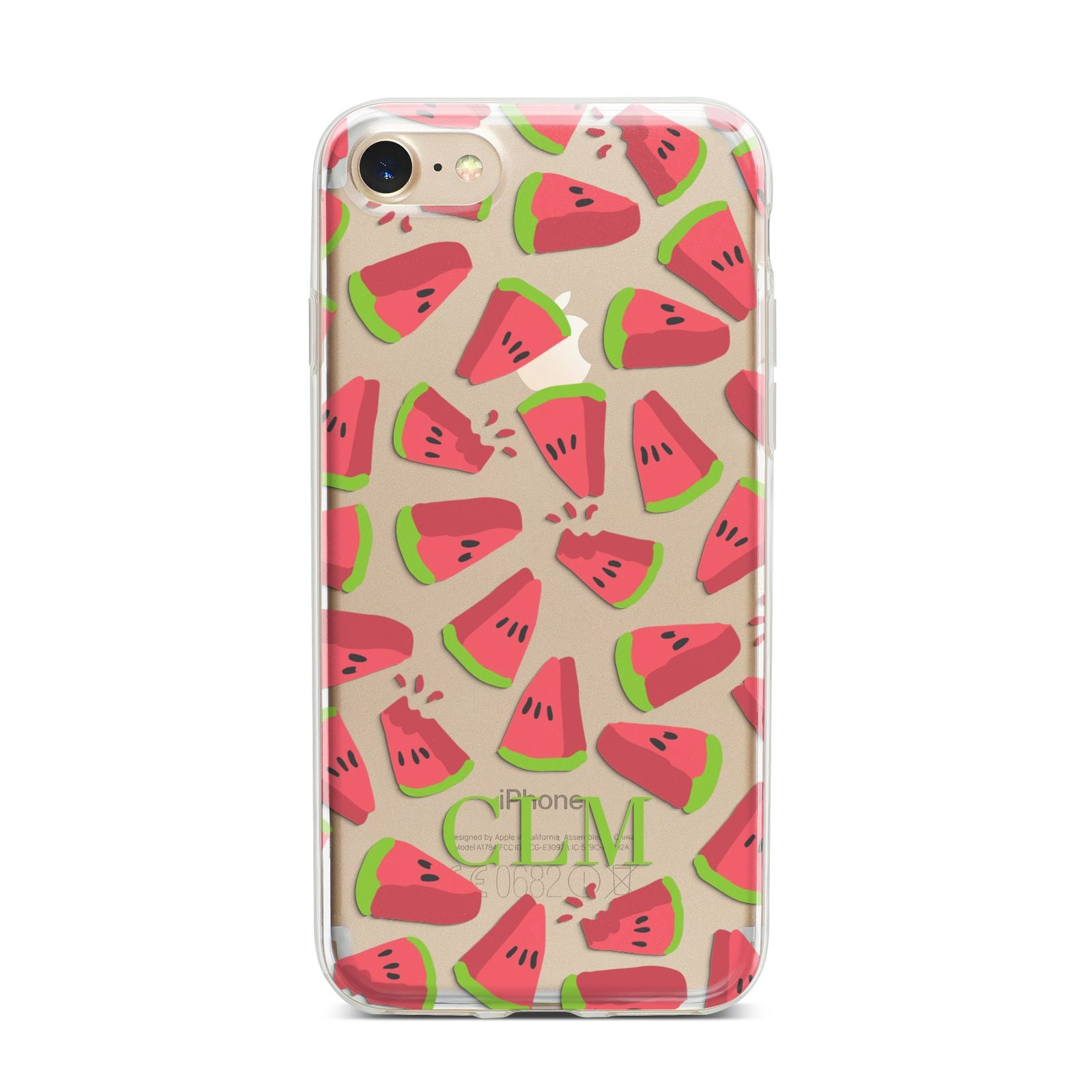 Personalised Watermelon Monogram iPhone 7 Bumper Case on Gold iPhone