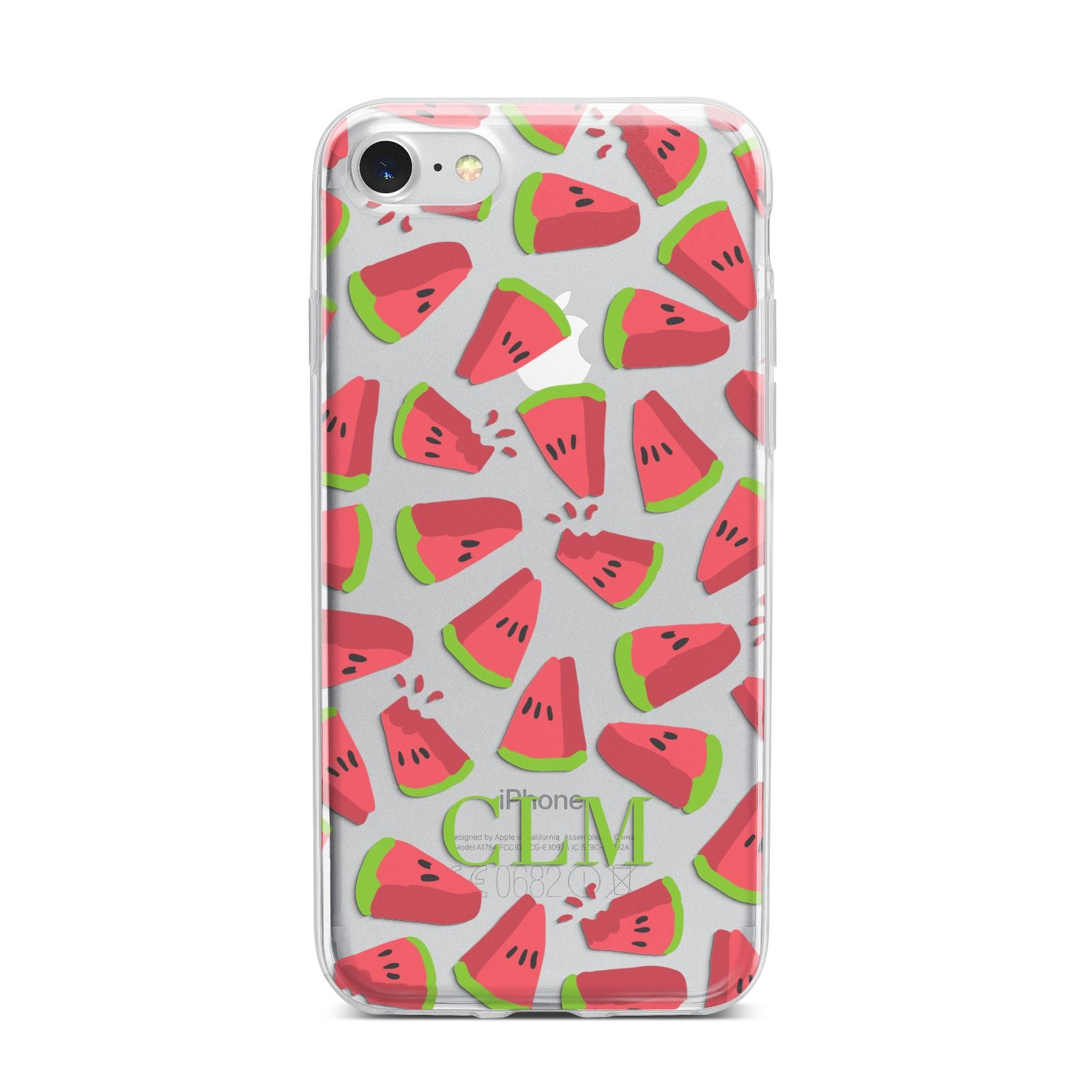 Personalised Watermelon Monogram iPhone 7 Bumper Case on Silver iPhone