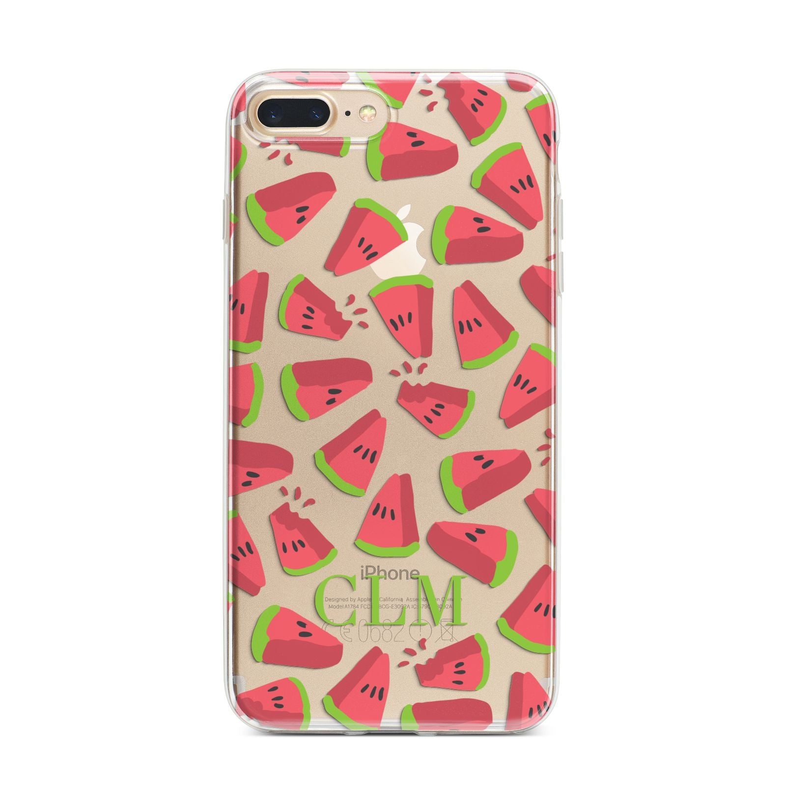 Personalised Watermelon Monogram iPhone 7 Plus Bumper Case on Gold iPhone