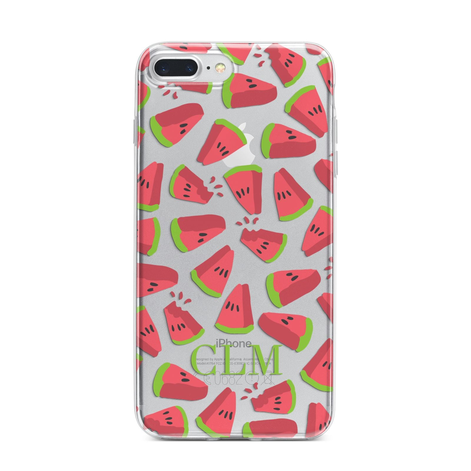 Personalised Watermelon Monogram iPhone 7 Plus Bumper Case on Silver iPhone