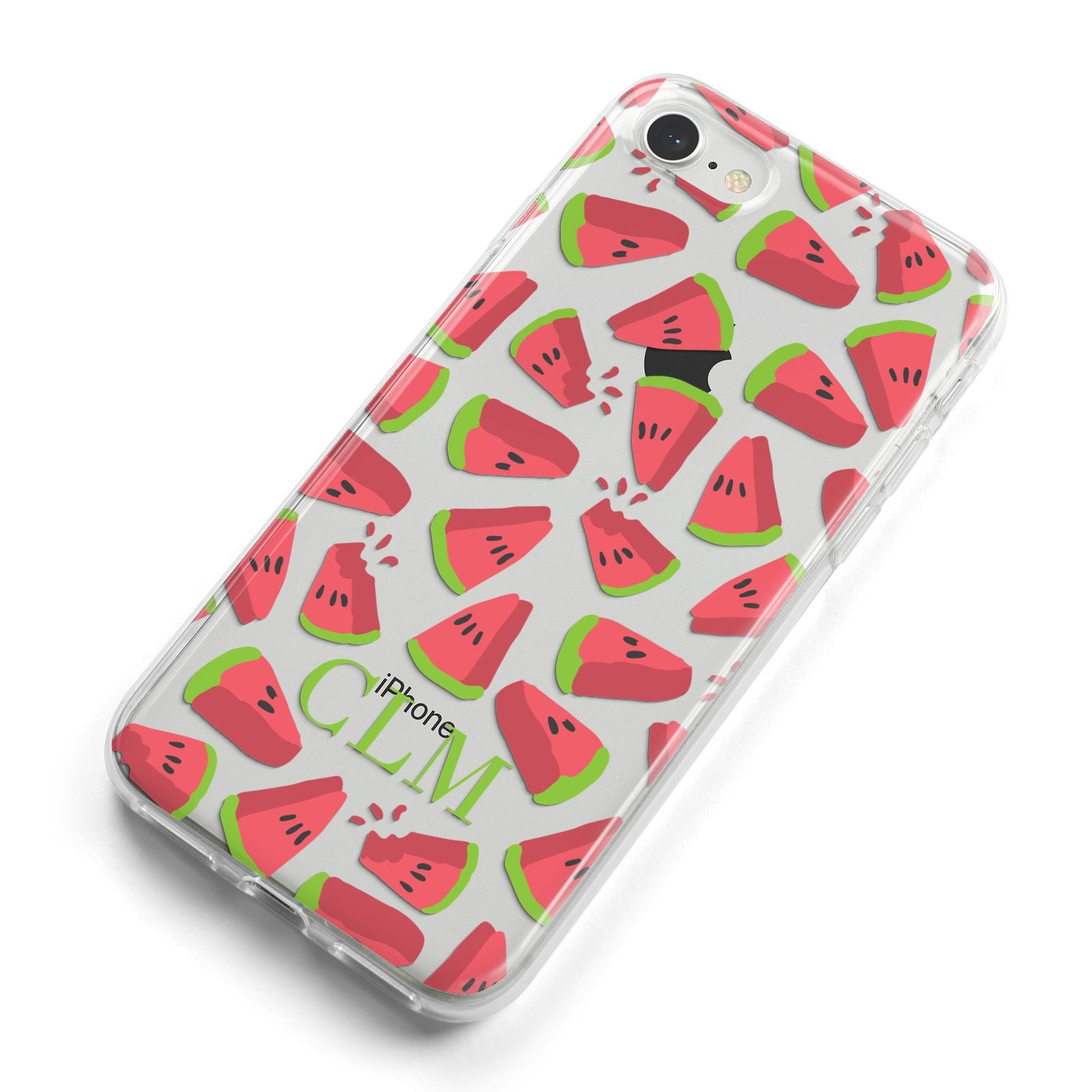 Personalised Watermelon Monogram iPhone 8 Bumper Case on Silver iPhone Alternative Image