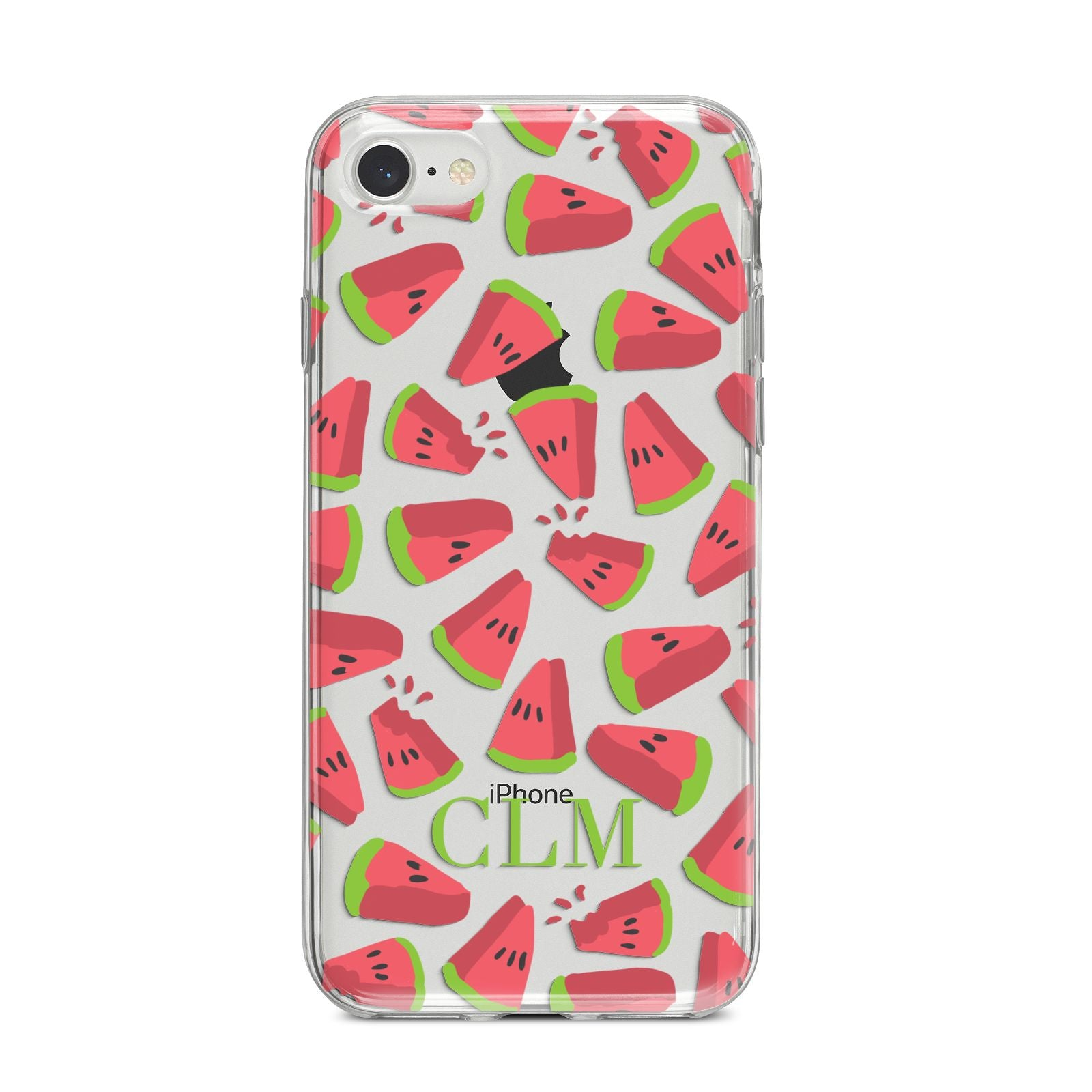 Personalised Watermelon Monogram iPhone 8 Bumper Case on Silver iPhone