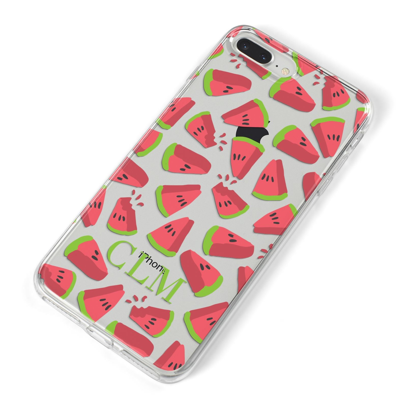 Personalised Watermelon Monogram iPhone 8 Plus Bumper Case on Silver iPhone Alternative Image