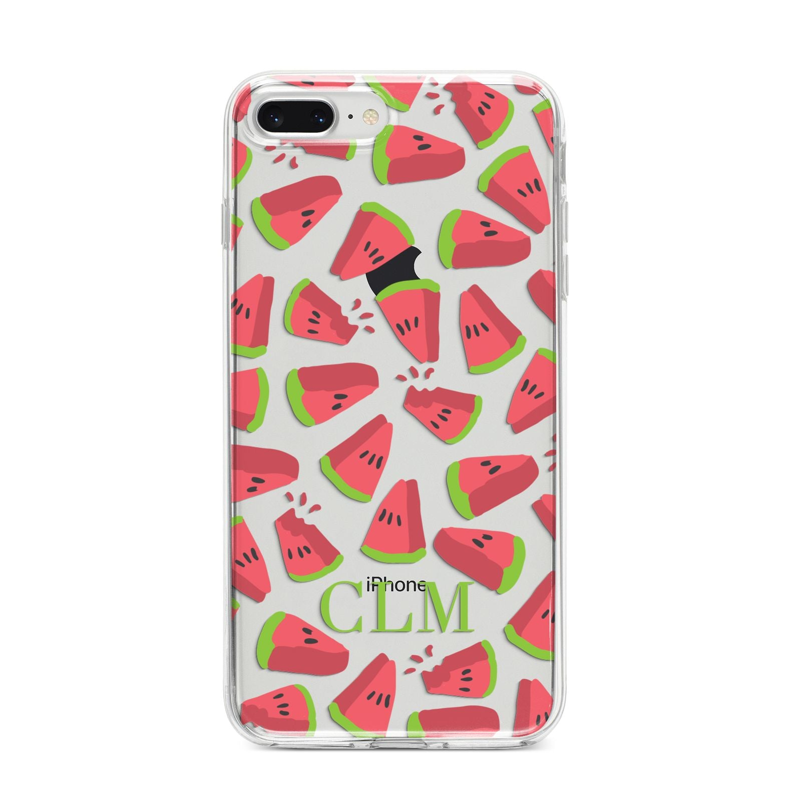Personalised Watermelon Monogram iPhone 8 Plus Bumper Case on Silver iPhone
