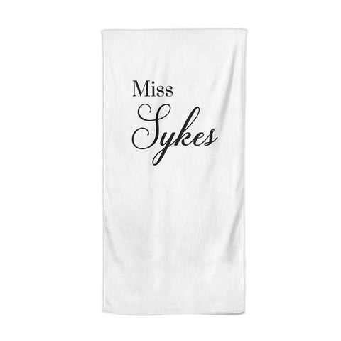 Personalised Wedding Name Miss Beach Towel
