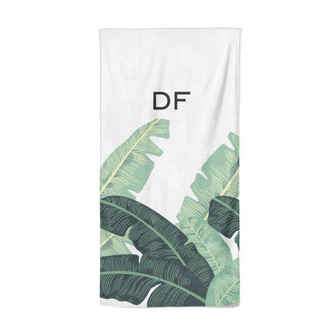 Personalised White Banana Leaf Beach Towel