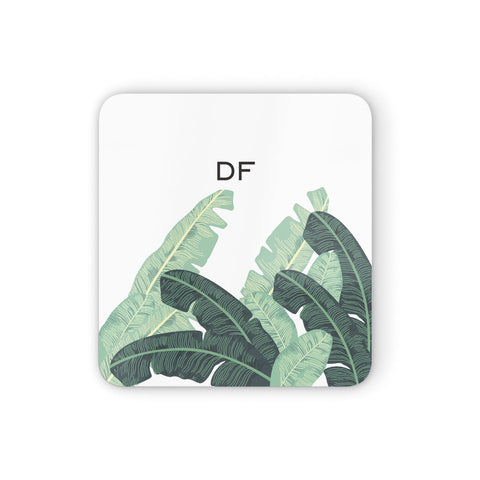 Personalised White Banana Leaf Coasters set of 4