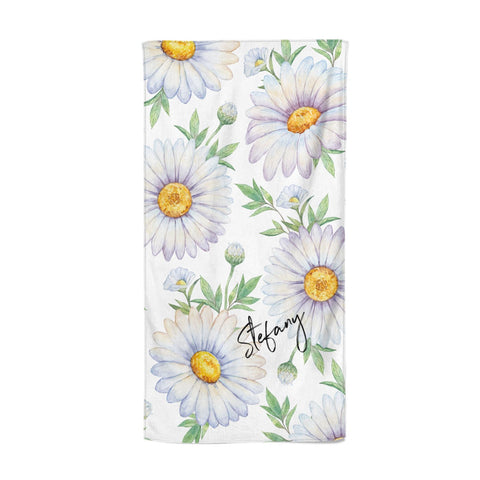 Personalised White Daisy Beach Towel