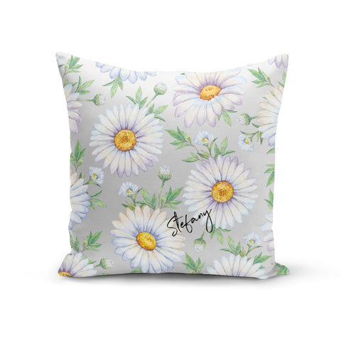 Personalised White Daisy Cushion