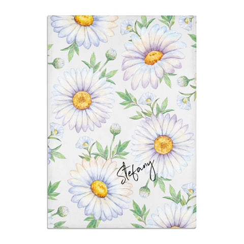 Personalised White Daisy Tea Towel