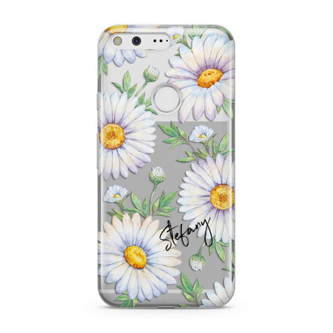 Personalised White Daisy Google Case