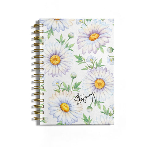 Personalised White Daisy Notebook