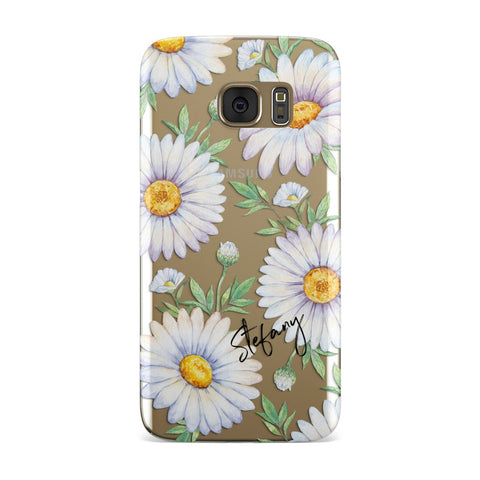 Personalised White Daisy Samsung Galaxy Case