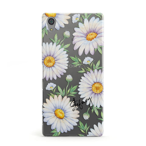 Personalised White Daisy Sony Case