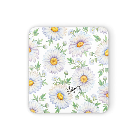 Personalised White Daisy Coasters set of 4