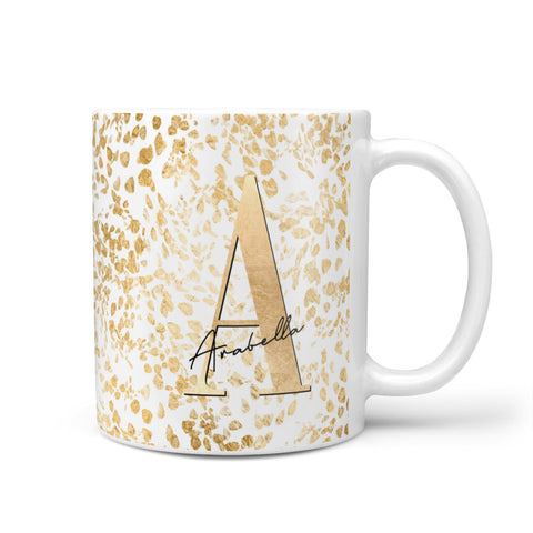 Personalised White Gold Cheetah Mug