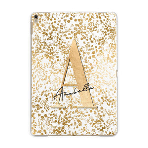 Personalised White Gold Cheetah Apple iPad Gold Case