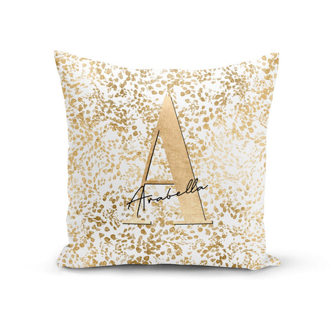 Personalised White Gold Cheetah Cushion
