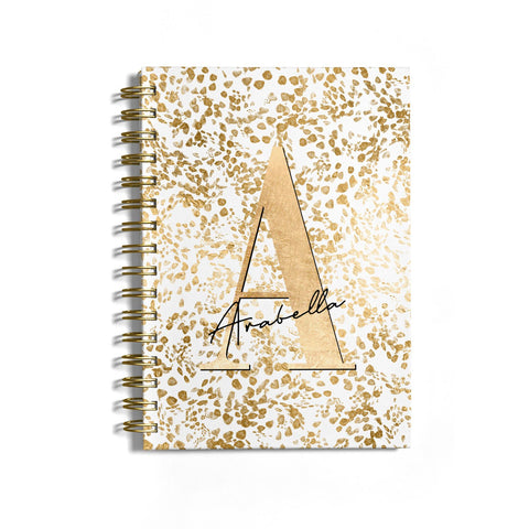 Personalised White Gold Cheetah Notebook