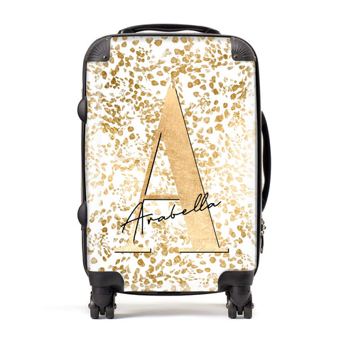 Personalised White Gold Cheetah Suitcase
