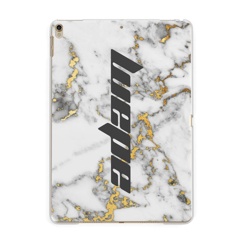 Personalised White Gold Marble Name iPad Case