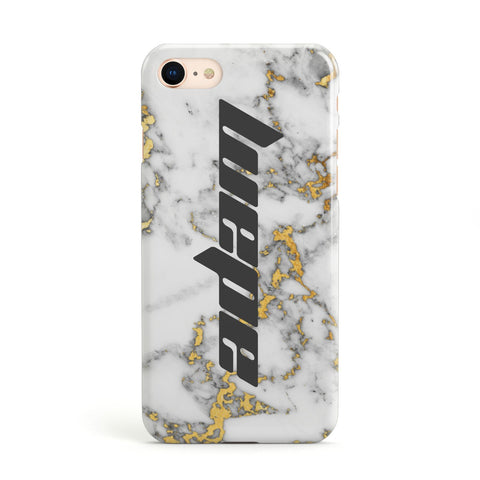 Personalised White Gold Marble Name iPhone Case