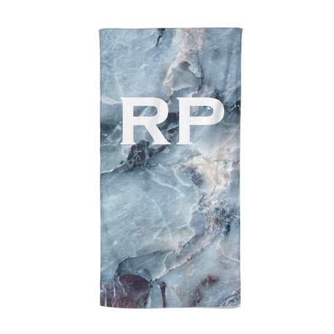 Personalised White Initials Marble Beach Towel