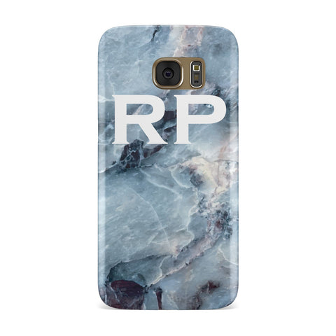 White Initials Blue Marble Samsung Galaxy Case