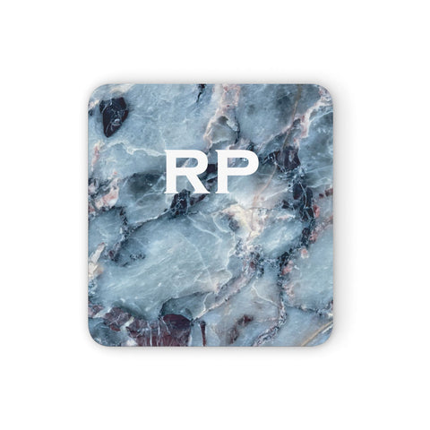 Personalised White Initials Marble Coasters set of 4