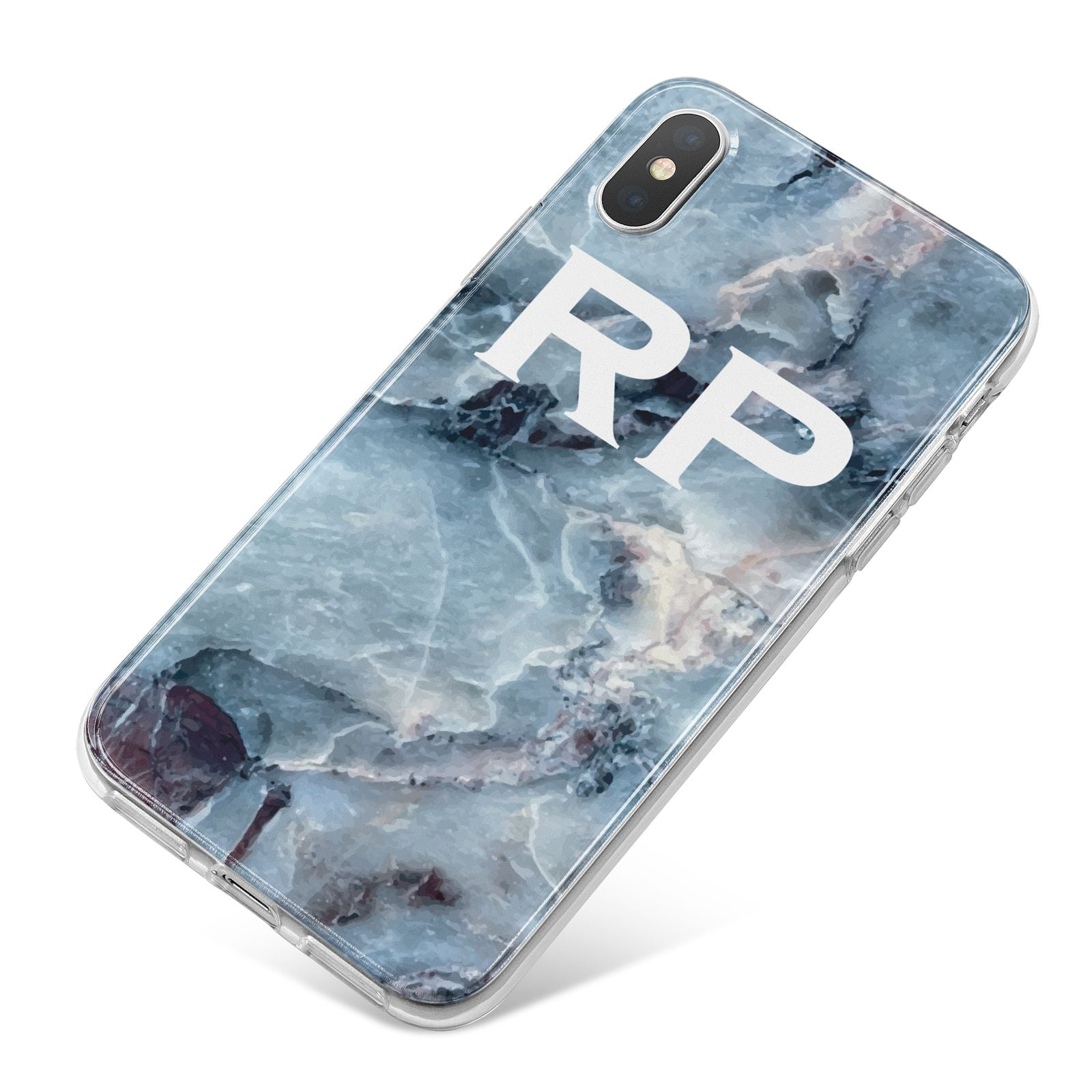 Personalised White Initials Marble iPhone X Bumper Case on Silver iPhone