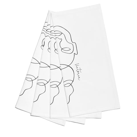 Personalised White Line Art Napkins