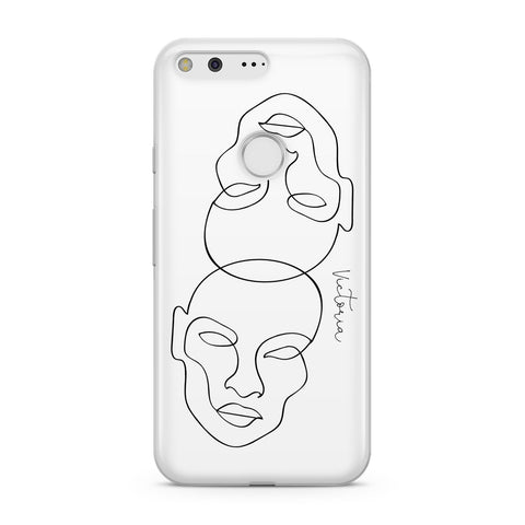 Personalised White Line Art Google Case