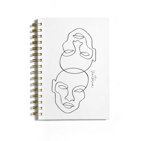 Personalised White Line Art Notebook