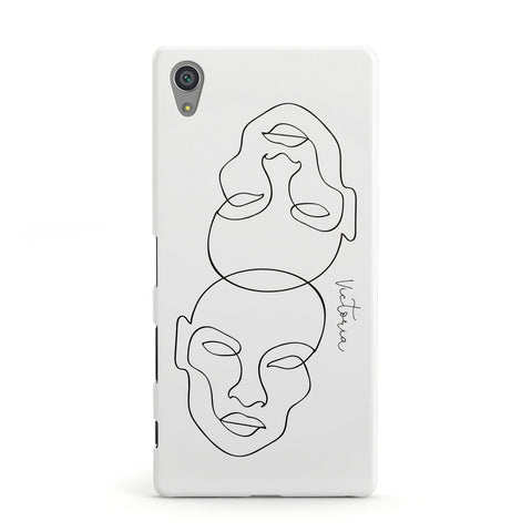 Personalised White Line Art Sony Case