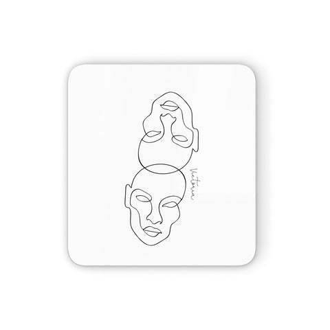 Personalised White Line Art Coasters set of 4